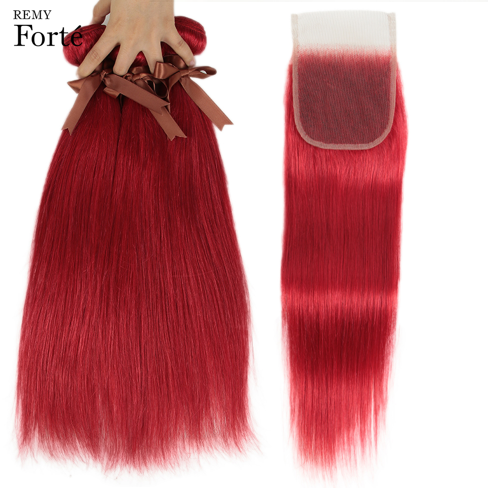 Remy Forte Straight Hair Bundles With Closure Red Bundles With Closure Brazilian Hair Weave Bundles 3/4 Remy Hair Bundles Rouge