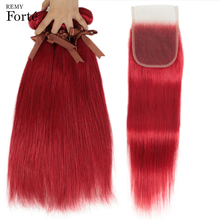 Remy Forte Straight Hair Bundles With Closure Red Bundles With Closure Brazilian Hair Weave Bundles 3/4 Remy Hair Bundles Rouge remy forte straight hair bundles with closure pink bundles with closure brazilian hair weave bundles 3 4 colored hair bundles