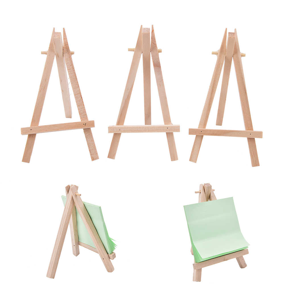 12 Pack Mini Easel with Canvas of Cottom Wood Display Easel Wedding Decoration Gift