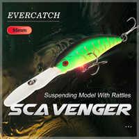 Evercatch scavenger 95mm/8g suspending deep diving crankbait rattlin jerkbait floating shad wobblers fishing lures for pike bass