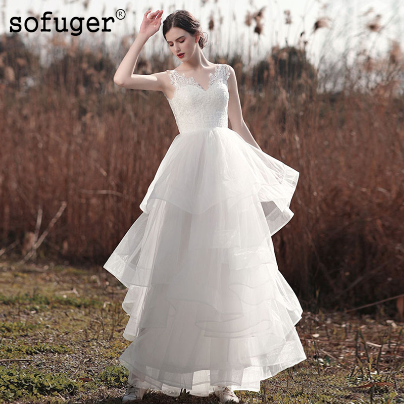 Ivory White Tulle Tiered Wedding Dress Lace Appliques V Neck Robe De Mariee Sofuge Dubai Arabic Abiti Da Sposa Sexy Backless