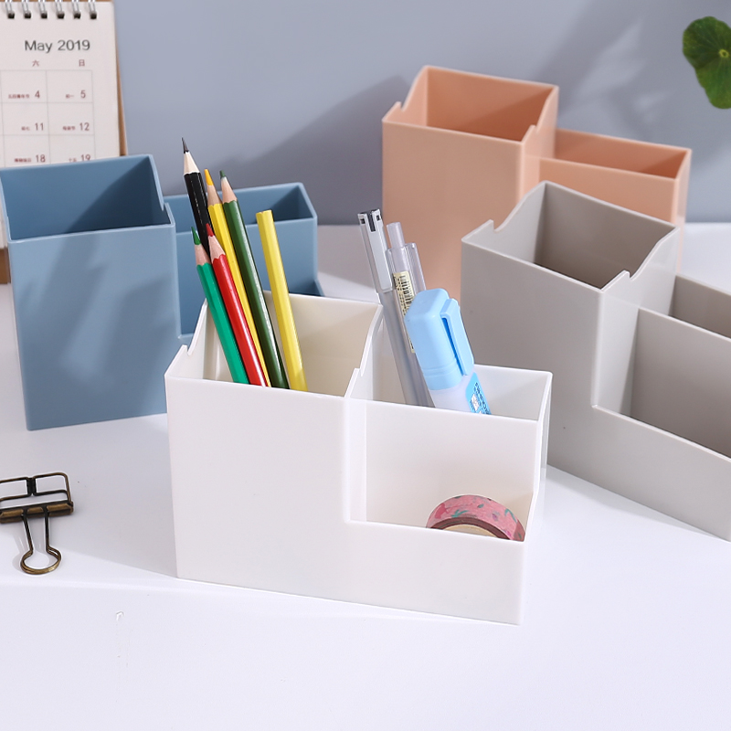 Multi-function 4 Grids Desktop Pen Holders Container Desk Organizer Stationery Square Pen Pencil Stand Plastic Storage Box 1PC
