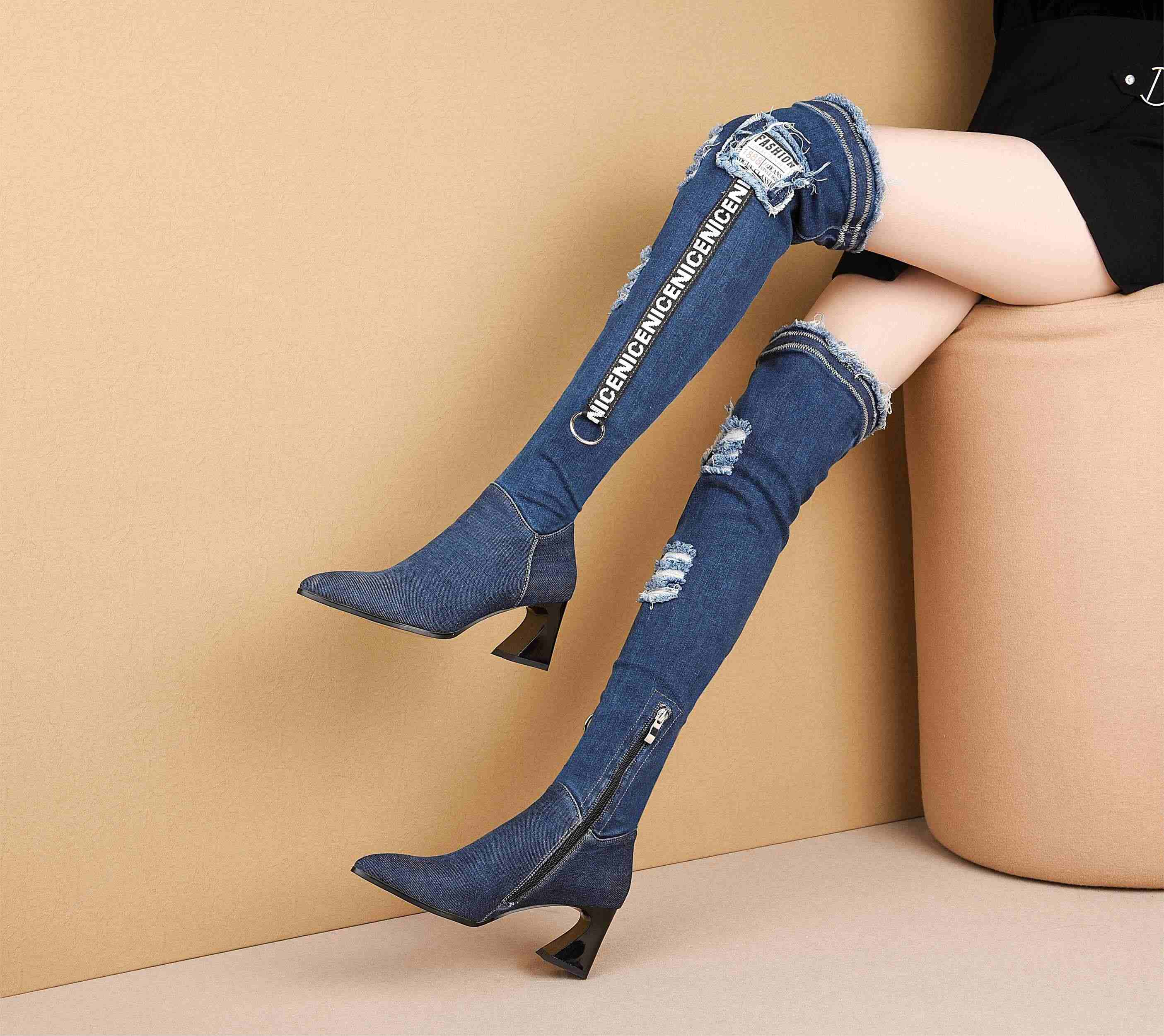 Krazing Pot yeni avrupa styledenim streç çizmeler yüksek topuklar sivri burun kadın moda nefes kış uyluk yüksek çizmeler L53