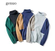 2020 Autumn And Winter New High Collar Sweater Men's Color Mosaic Korean Fashion Fashion Sweater To Keep Warm Preppy Style