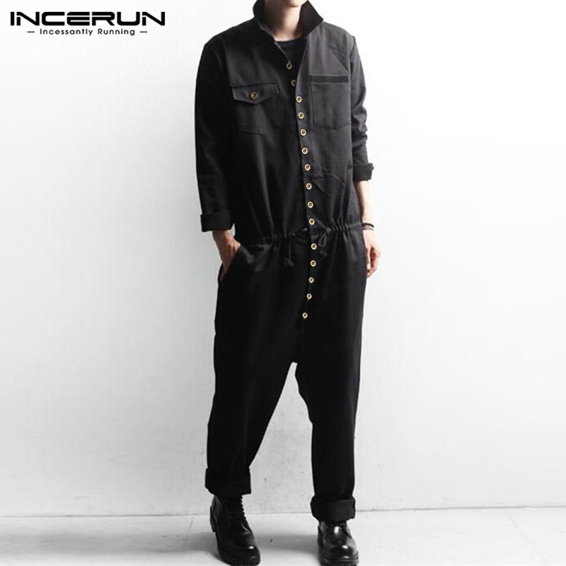 INCERUN Autumn Fashion Men Long Sleeve Casual Jumpsuit Solid Cargo Overalls Multi Button Lapel Mens Rompers Retro Streetwear 7