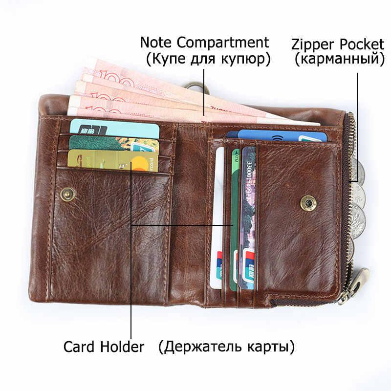 Neue RFID Schutz Aus Echtem Leder Männer Brieftasche Geldbörse Kleinen Kurzen Karte Halter Kette PORTFOLIO Portomonee Männlichen Walet Tasche