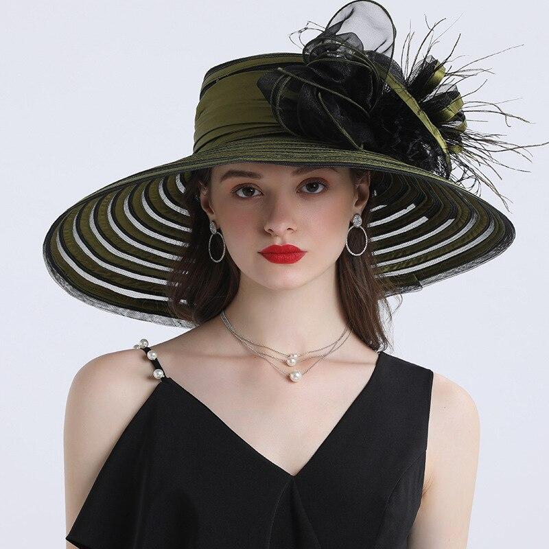 Элегантная Женская Шляпа Дерби в полоску с перьями и цветком в стиле Кентукки, 16 см, с широкими полями, церковное платье, шляпа от солнца, жен...