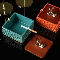Cenicero cuadrado clásico retro de lujo para decoración de oficina y hogar