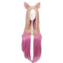 Game KDA Baddest Ahri Cosplay Wigs LOL KDA Cosplay Blonde Mixed Pink Wigs with Ears Heat Resistant Synthetic Hair Wig(China)