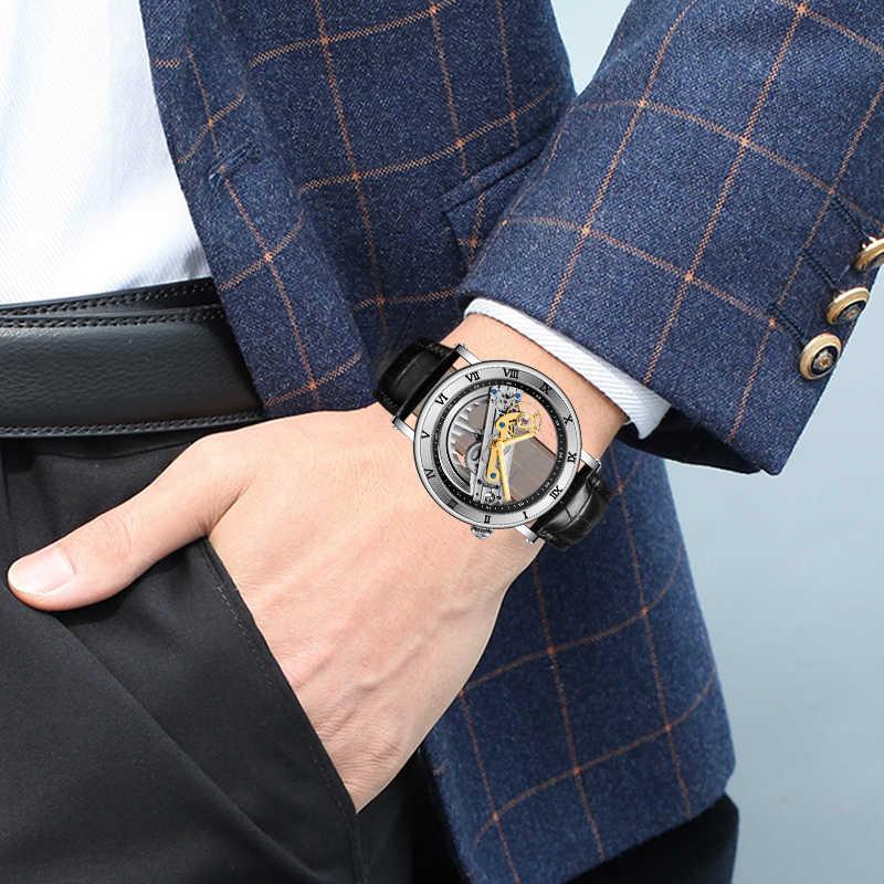 FORSINING classique hommes montre haut de gamme marque de luxe en cuir tourmilliard automatique mécanique montres lumineux mains Relogio Masculino