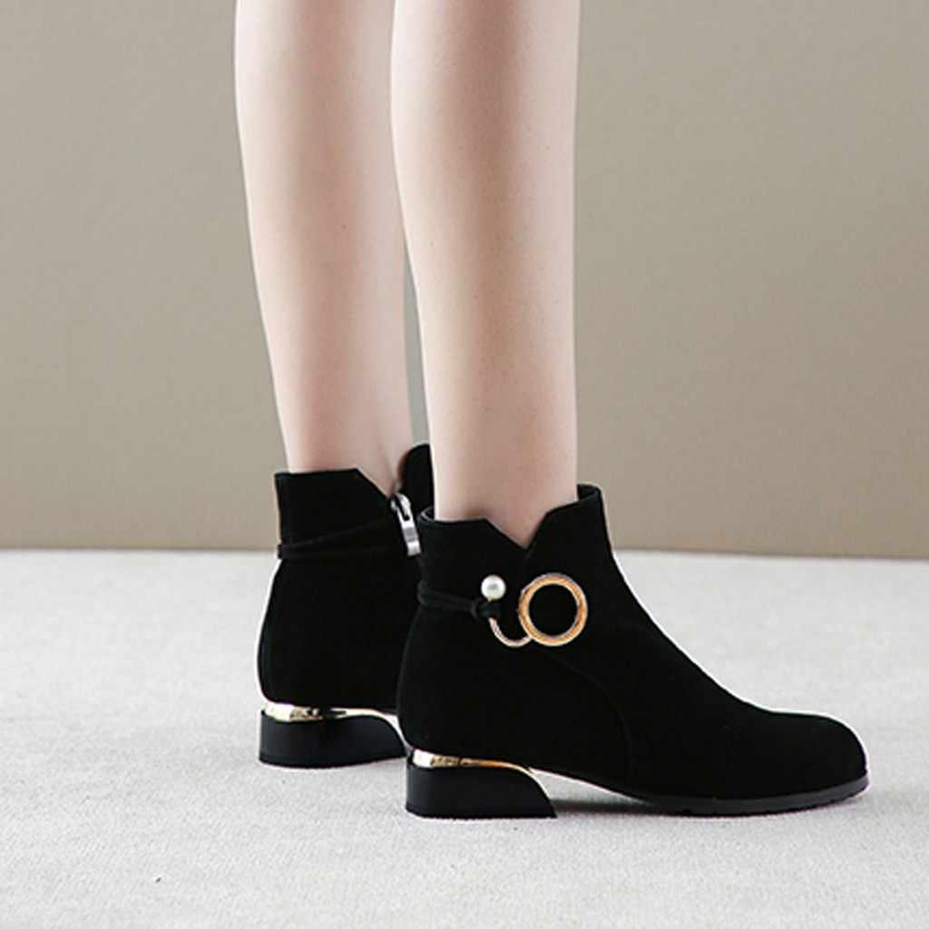 Giày Bốt Nữ Nữ Dây Kéo Cổ Chân Giày Học Sinh Thường Lớn Kích Thước Tẩy Tế Bào Chết Nữ Thời Trang Đơn Giày Lông Ấm Áp Mùa Đông Giày C50 #