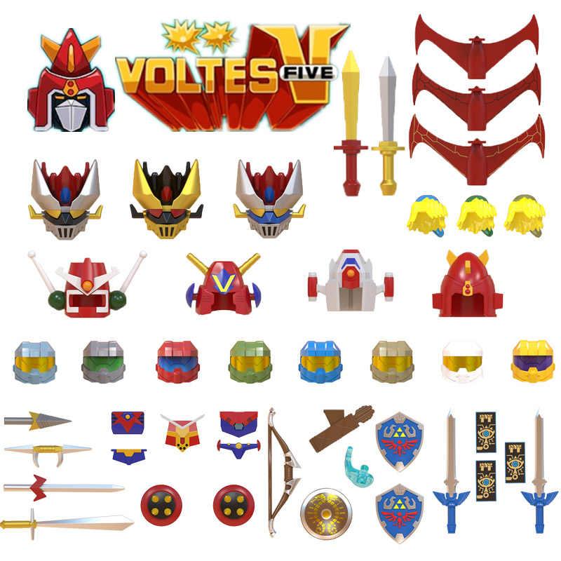 Juego de animación serie equipo bien equipado Robot Porugis Metamorphosis armas casco armas y espada juguete de bloques de construcción accesorios niños