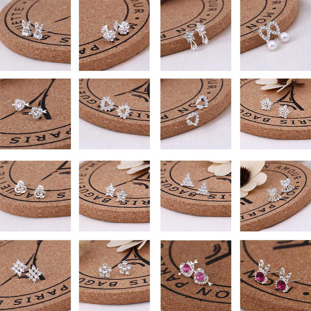 Recommend Cute Exquisite Simlated Pearl Crystal Stud Earring Butterfly Snowflake Star Triangle Crown Shape Earring