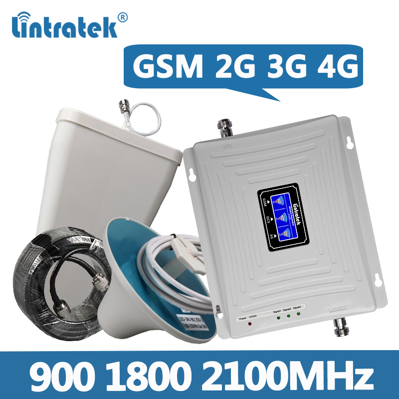 Lintratek GSM 2G 3G 4G Repeater 900 1800 2100MHz Signal Booster TriBand GSM 900 Repeater 3G 2100 Booster 4G 1800MHz KW20C-GDW