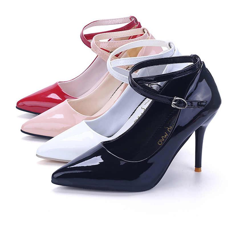 Phiên Bản Hàn Quốc Của Nhọn Đế Gót Quai Cổ Chân Nông Bằng Sáng Chế Da Đỏ Cao Cấp Gót Giày Cưới Nữ WSH3175