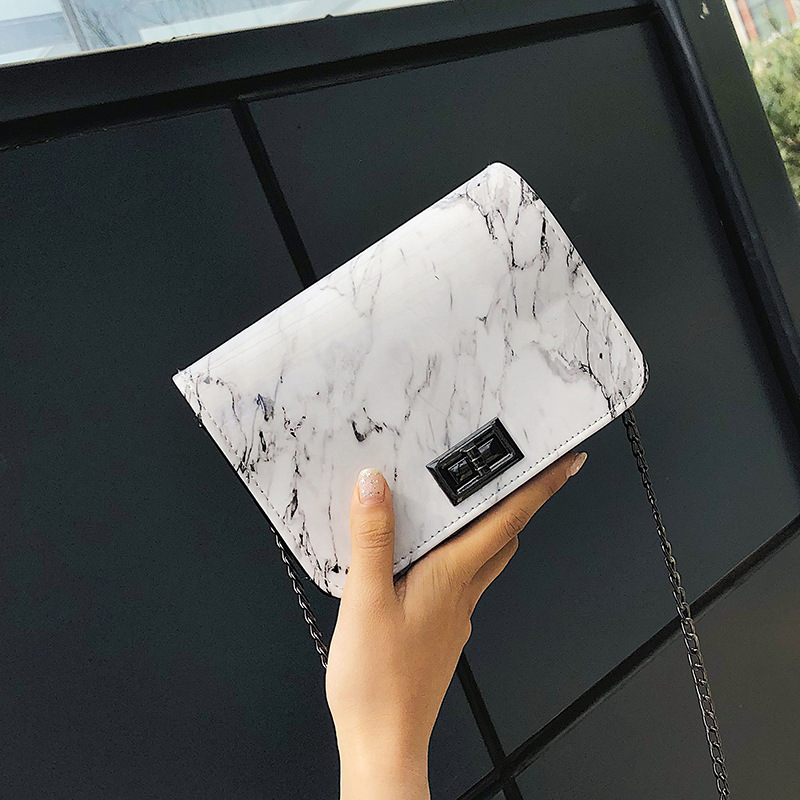 Bags For Women 2019 Marble Pattern Shoulder Bag Lock Buckle Wild Messenger Small Square Marble White Bag Designer Handbags