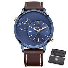 купить Mens Sport Double Dial Watches Fashion Man Watch Luxury Brand Genuine Leather Quartz Wristwatch Relogio Masculino Montre Homme по цене 1703.83 рублей