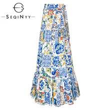 SEQINYY Long Skirt 2020 Spring Autumn New Fashion Design Women White Blue Porcelain Flowers Ruffles Printed Skirt Belt