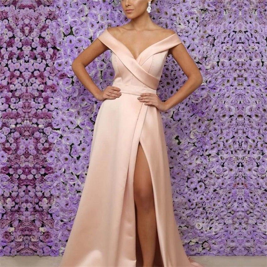 Sexy Side Slit Off the Shoulder Evening Dress 2020 Dress Party Prom Gown Formal Dress robe de soiree vestido longo festa