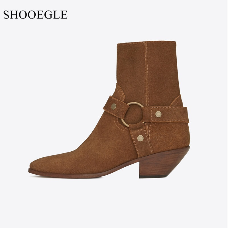 New Fashion Women's Boots Black Brown Suede Leather Circled Strap Western Cowboy Boots Pointed Toe Med Heels Shoes Botas Mujer