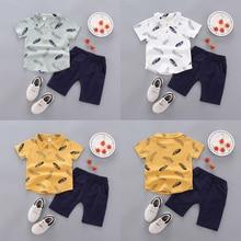 Summer Children Baby Boys Casual Short Sleeve Fur Print T-shirt Tops+Shorts Costume Set