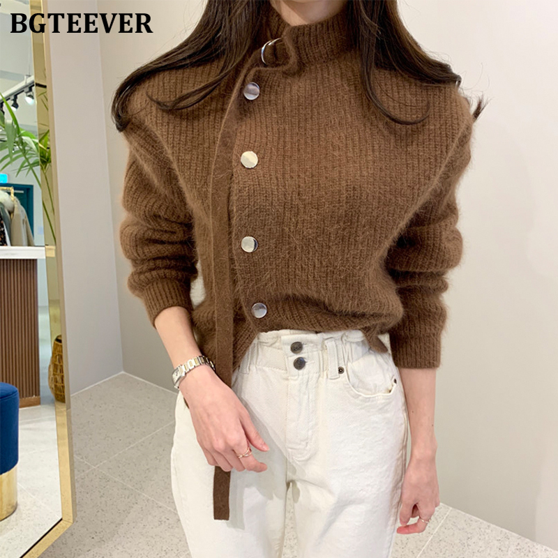 BGTEEVER Streetwear Side-buttons Women Sweater Stand Collar Full Sleeve Female Knitted Cardigan 2019 Autumn Winter Open Stitch
