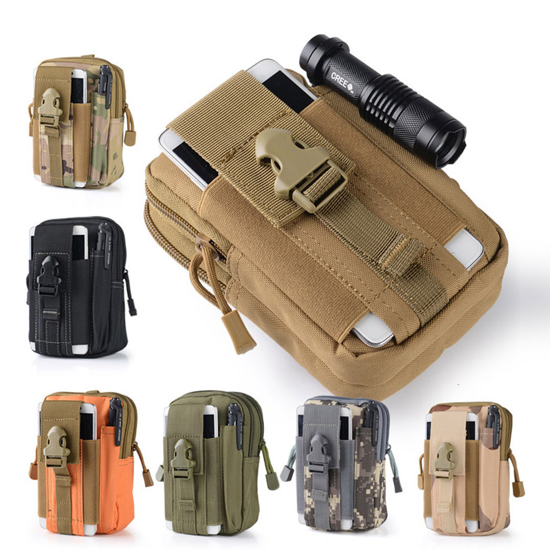 Camo Waterproof Nylon Multifunction Casual Men Fanny Waist Pack Male Small Bag Mobile Phone Military Molle Pouch Waist Bag