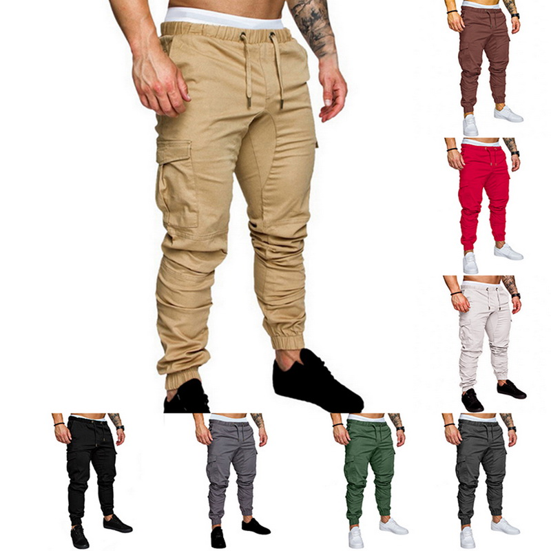 Casual Joggers Pants Solid Color Men Cotton Elastic Long Trousers Pantalon Homme Military Cargo Pants Leggings Fashion New 2019