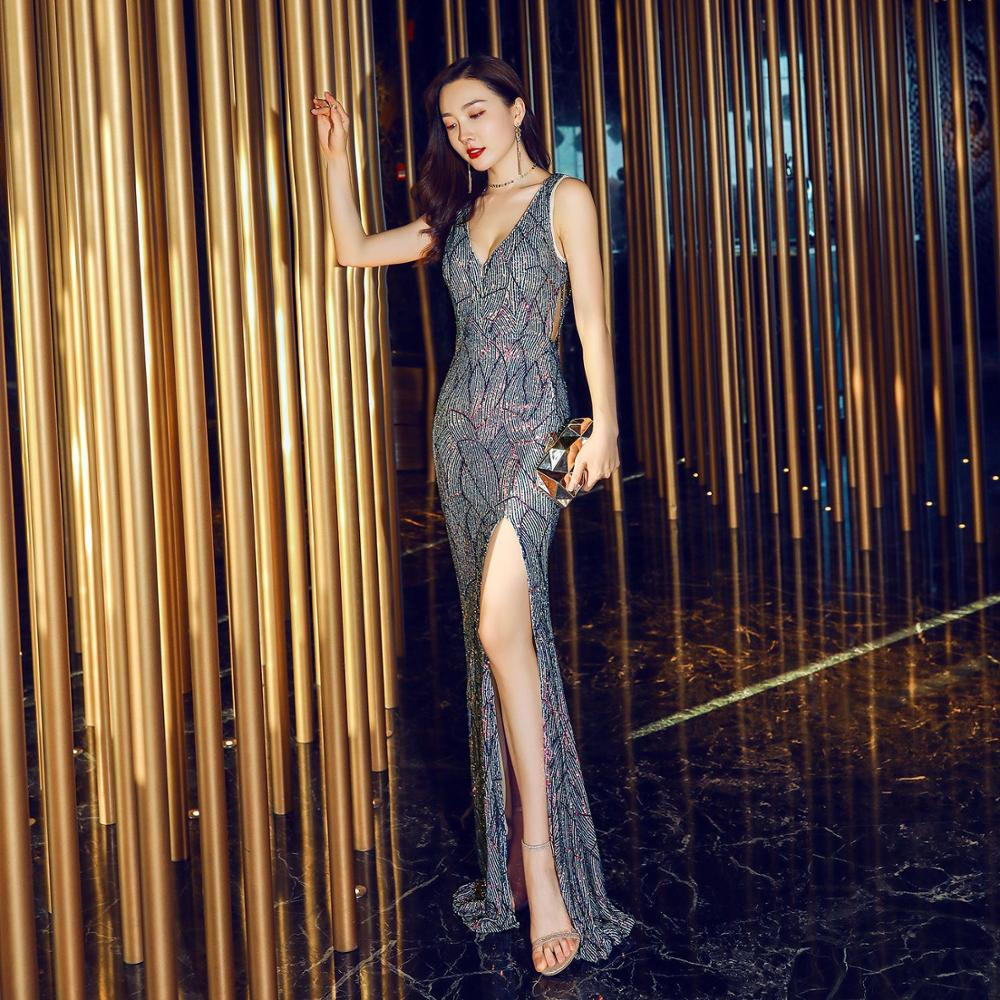 Élégant sirène fente longue robes de soirée de bal Sequin Sexy dos nu perlé col en v formelle robe de soirée robe de reconstitution historique 2019 nouveau
