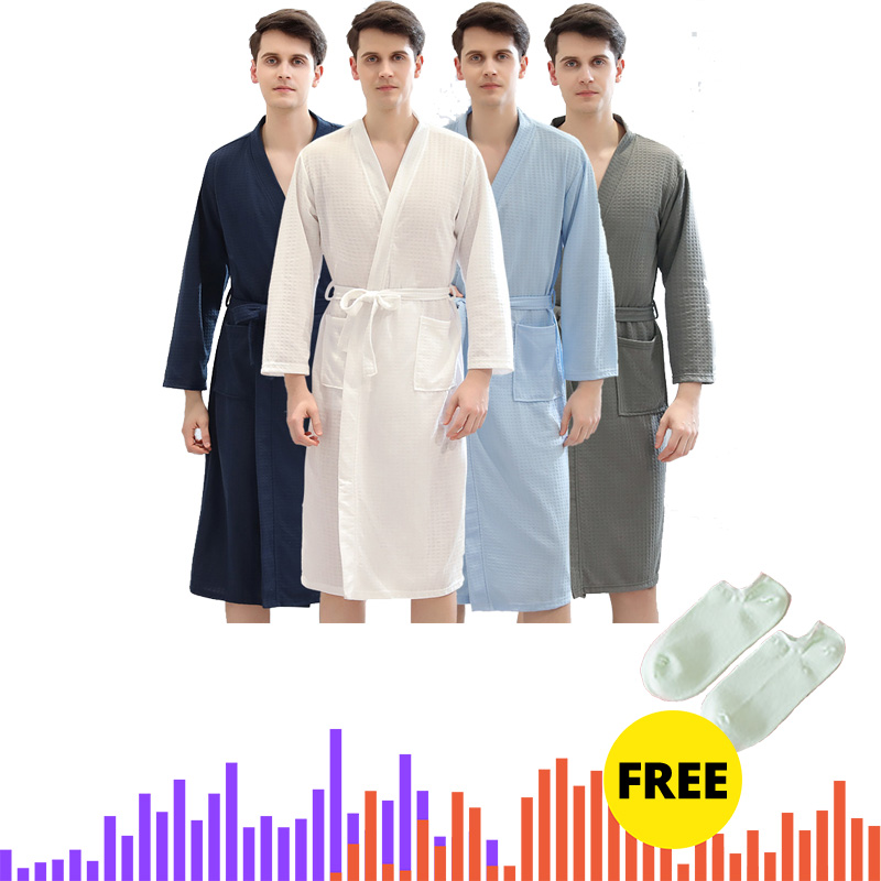 Men Women Summer Kimono Bath Robe Suck Water Mens Dressing Gown Sexy Knitted Waffle Spa Robes Male Solid Bathrobe