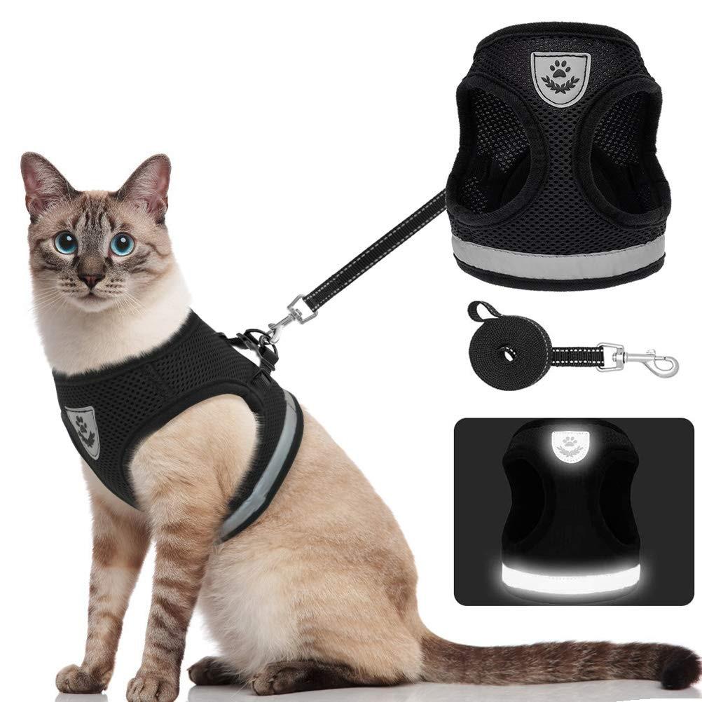 Воздухопроницаемая шлейка и поводок для кошек, светоотражающая жилетка с защитой от ударов, для котят, щенков, собак, регулируемая, легкое у...