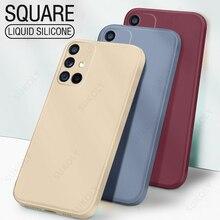 New Luxury Original Square Liquid Silicone Soft Case For S21 S20 FE Plus S21 Note 20 Ultra 10 9 S10 S9 S8 Plus Phone Cover