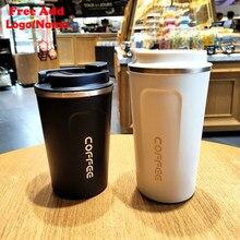 Tasse à café à Double paroi en acier inoxydable, logo personnalisé, grande tasse épaisse en voiture, Thermos de voyage pour cadeaux