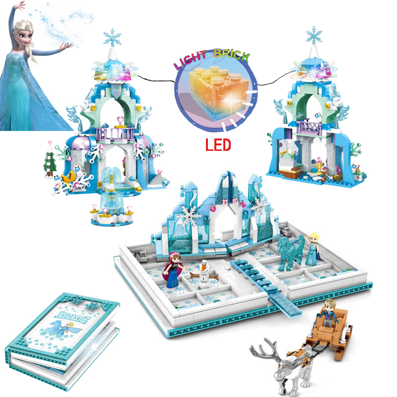 LED Snow World Series Friends Figures The Anna's Magical Ice Castle Set Girl's Building Blocks Book Compatible Friend House Toys