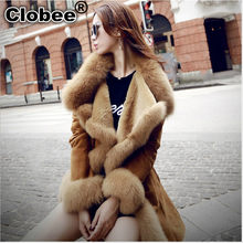 Artificial Fur For Winter Women 2019 Winter Sheepskin Fur Female-Coat Furry Winter Coats Girl Faux Fur Coat A2038(China)