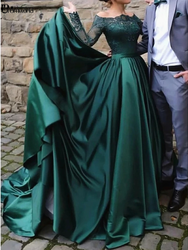 Elegant Muslim Long Sleeves Lace Emerald Green Evening Dresses 2019 Off the Shoulder Satin Formal Dress Party Ball Gown