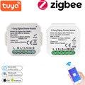 Tuya Smart 1/2 выключатель Zigbee диммер без нейтральный релейный модуль автоматизации умного дома дистанционного Управление работать с Alexa GoogleHome