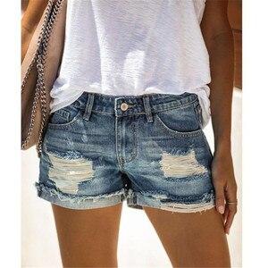 Summer Women Fashion Sexy Denim Shorts 2020 Vintage Mid waist sexy Ripped Tassel casual Hot Short Jeans Femme Slim Streetwear