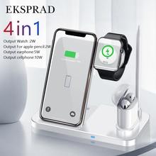 Bezprzewodowa ładowarka EKSPRAD 4 W 1 10W szybka podstawka ładująca dla iPhone 11 Pro XR X Xs Max dla Apple Watch 6 5 4 3 Airpods Pro ołówek