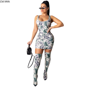 Fall Winter Women Tracksuit Dollar Print Dress + Knee-high socks Suits Two Piece Set Outfits Night Club Sexy Street Bandage 5134