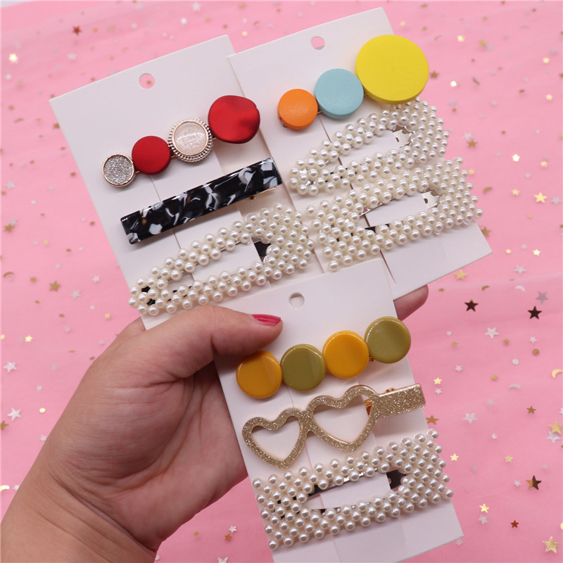3Pcs/Set 2019 New Pearls Hair Clips For Women Girls Acetate Wooden Geometric Big Alligator Clips Hair Sweet Hairpins Barrettes