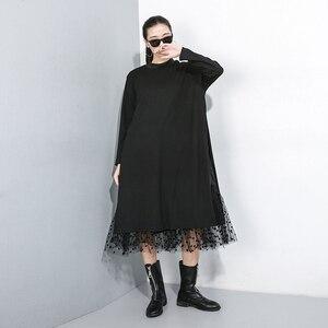 Image 3 - [EAM] ผู้หญิงสีดำตาข่ายDotแยกชุดใหม่ขาตั้งคอยาวแขนยาวหลวมFitแฟชั่นฤดูใบไม้ผลิฤดูใบไม้ร่วง2020 1B593