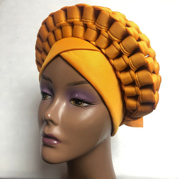 Nigerian Yellow Gele Headtie Aso Oke Gele Already Made Auto Gele Aso Ebi Headtie African Turban Cap with Colorful -LP30 image