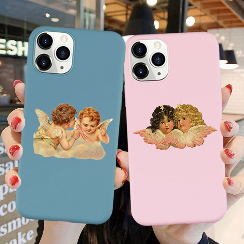 Luxus Telefon Fall für <font><b>Iphone</b></font> 11 Pro Max X XR XS MAX 6S 7 <font><b>8</b></font> Plus Cartoon Engel Baby druck Fall für <font><b>Iphone</b></font> SE 2020 Abdeckung Capa image