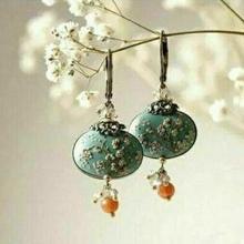 Винтажные висячие серьги в форме цветка сливы, женские богемные оранжевые серьги с орнаментом, большие серьги из синего камня, букле d'oreille femme
