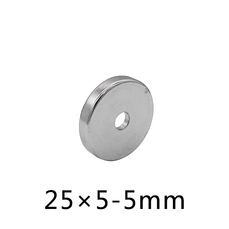 10/<font><b>30</b></font>/50pcs <font><b>25</b></font> x 5 mm Hole 5 mm Super Strong Ring Loop Countersunk Magnet Rare 25x5-5mm Earth Neo Neodymium Magnets Cylinder 5mm image