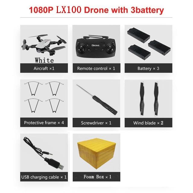 LAUMOX LX100 Радиоуправляемый Дрон с 4 K/1080 P HD камерой оптическое позиционирование потока wifi FPV складной Квадрокоптер вертолет дроны следуем за мной - Цвет: 1080P 3B FB W