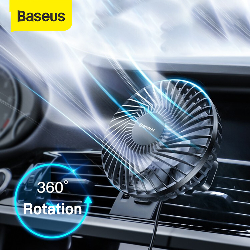 Baseus Car Air Cooler Fan Silent Car Air Conditioner 360 Degree Rotating Cooling Fan Auto Backseat Air Vent USB Cooling Fan