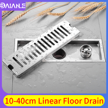 цена на Linear Floor Drains Stainless Steel Floor Drain Cover Tile Insert Channel Bathroom Shower Drainer Anti-odor Floor Waste Grates