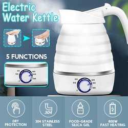 0.7L czajnik elektryczny ze stali nierdzewnej + silikonowy składany Travel Camping bojler na wodę regulowane napięcie domowe urządzenia elektryczne
